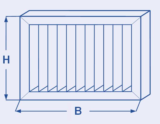 Zeichnung Höhe, Breite der Filterzellen